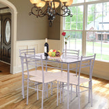Ashton 5 pcs Glass Top Dining Set