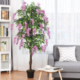 6-Feet Artificial Wistera Silk Indoor-Outdoor Tree