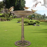 Antique Gold Freestanding Pedestal Bird Bath Feeder