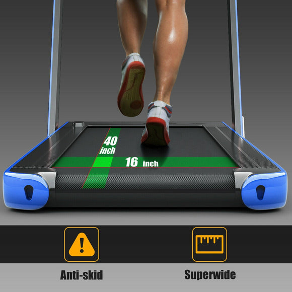 2-in-1 Folding Treadmill with Bluetooth Speaker LED Display