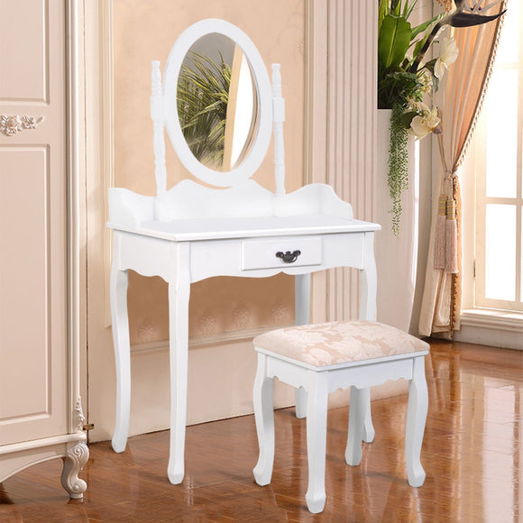 White Vanity Makeup Dressing Table Stool Set