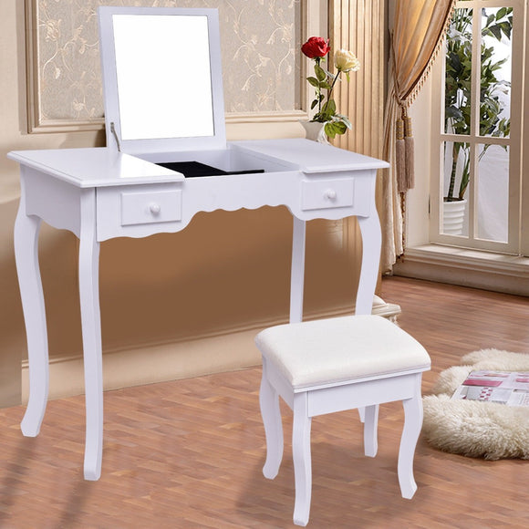 White Vanity Table Set w/ Stool