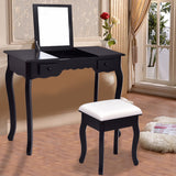 Black Vanity Table Set w/ Stool