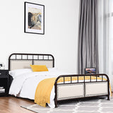 Full Size Metal Upholstered Panel Bed Frame