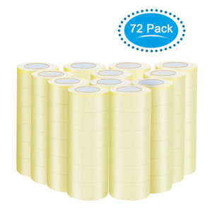 Rolls of clear packing tape stacked