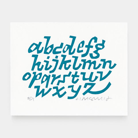Cyrus Highsmith: Teal Lowercase Print