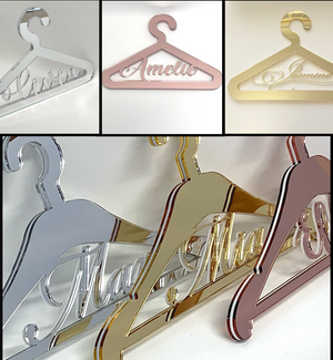 Custom personalised dress hangers for weddings baptism events