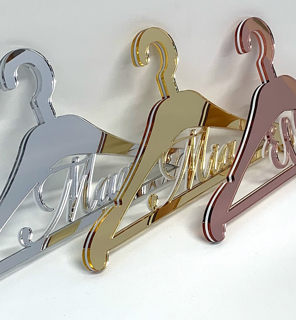 Personalised Mirror Acrylic Dress Hanger DETAILED Model