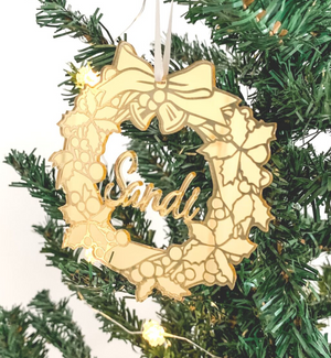 Personalised Christmas Wreath Ornament Gold