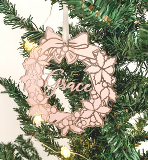 Personalised Christmas Wreath Ornament Rose Gold