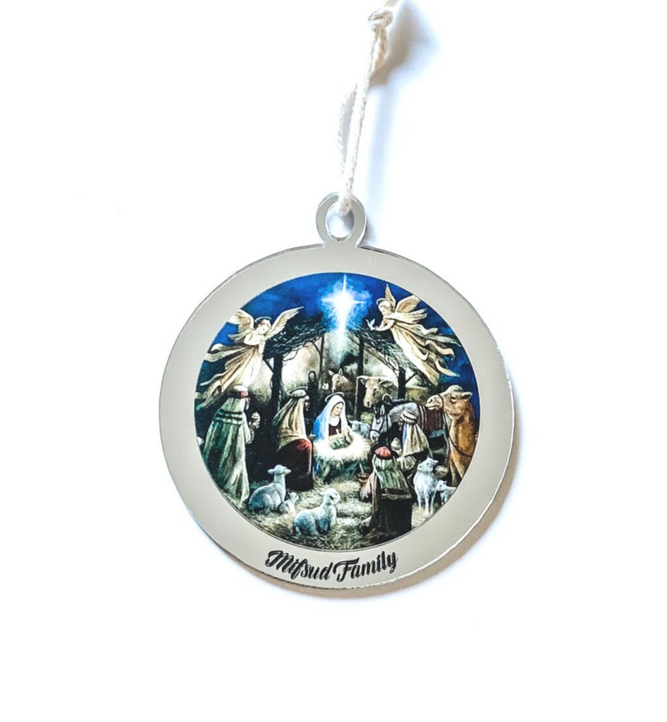 PERSONALISED NATIVITY SCENE CHRISTMAS ORNAMENT Silver