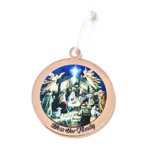 PERSONALISED NATIVITY SCENE CHRISTMAS ORNAMENT Rose Gold
