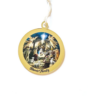 PERSONALISED NATIVITY SCENE CHRISTMAS ORNAMENT Gold