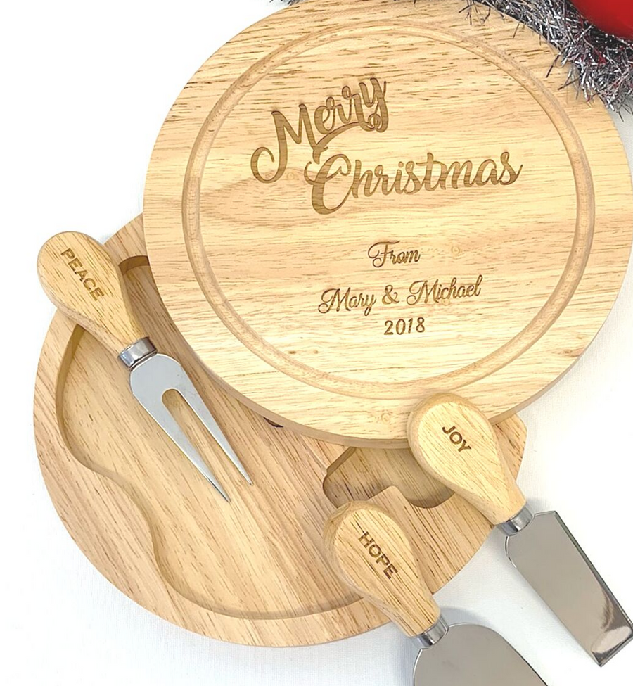 ENGRAVED Round Swivel Cheese Board Sets