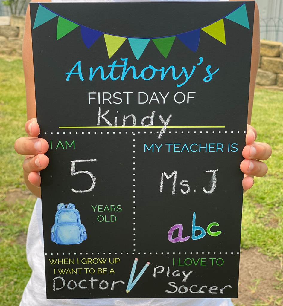 Personalised First Day Chalkboard