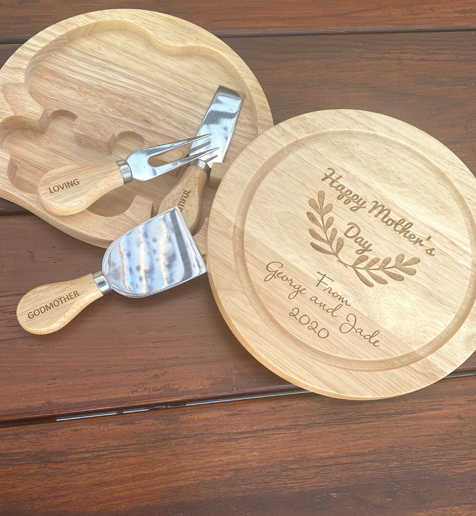 Personalised Round Swivel Cheese Board Sets