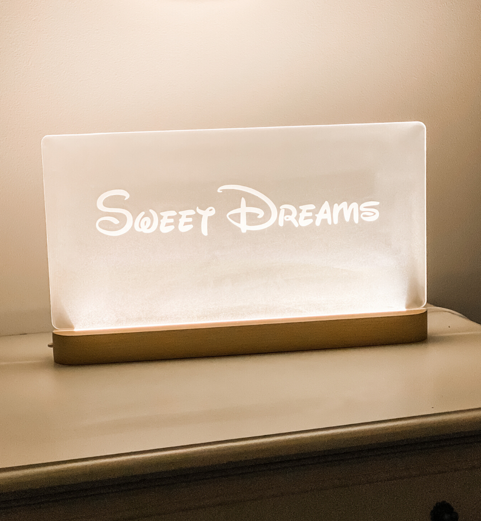 Large Personalised LED Timber Base Night Light