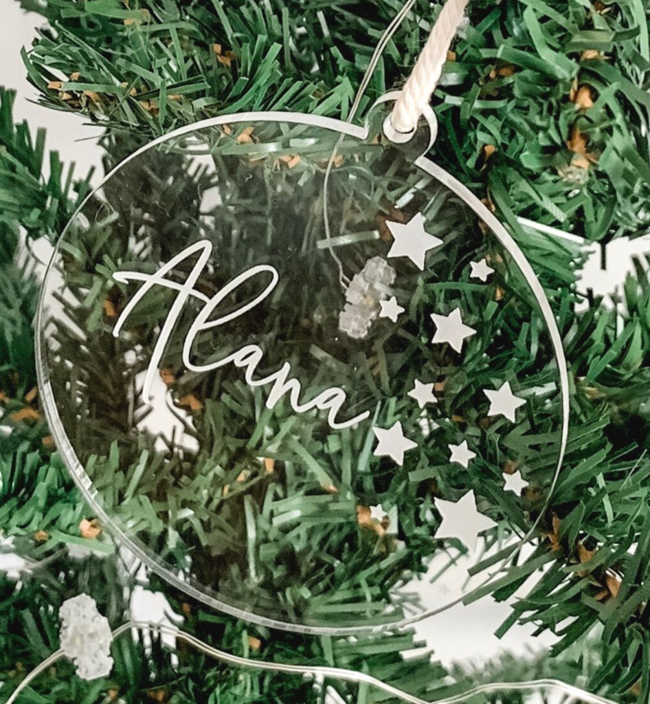 PERSONALISED SOLID ROUND CHRISTMAS ORNAMENT CLEAR