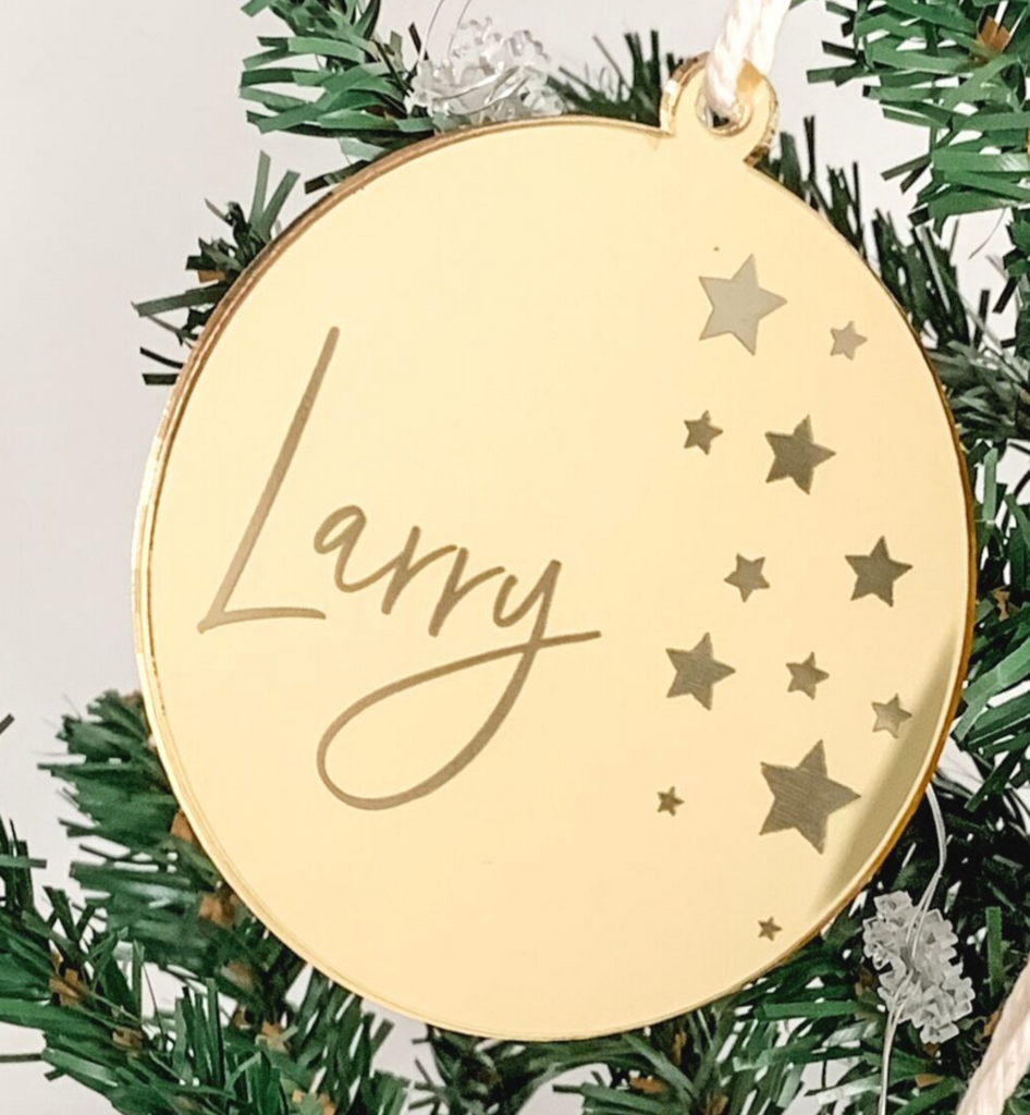 PERSONALISED SOLID ROUND CHRISTMAS ORNAMENT GOLD
