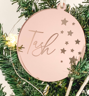 PERSONALISED SOLID ROUND CHRISTMAS ORNAMENT ROSE GOLD