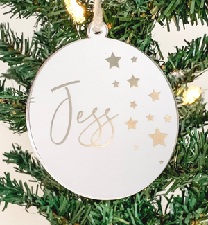 PERSONALISED SOLID ROUND CHRISTMAS ORNAMENT SILVER