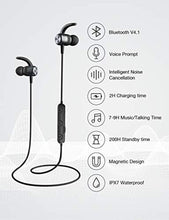 Bluetooth Headphones, Otium Magnetic Wireless Earbuds IPX7 Waterproof in-Ear Sports Earphones w/Mic Gym Running Cycling Workout(Super Sound Quality, CVC 6.0 Noise Cancelling Secure Fit)