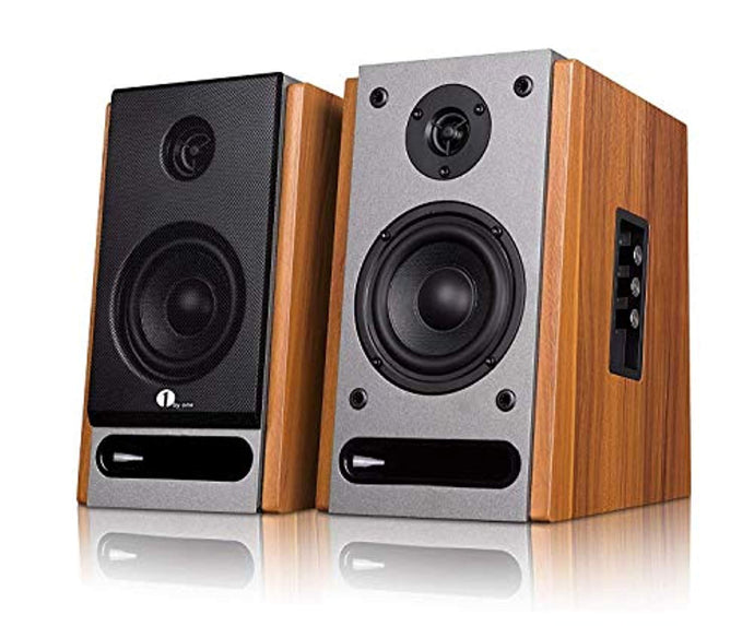 1byone powered Bluetooth classic bookshelf speaker with 4'' woofer and 1'' tweeter,2X21W RMS,Pair