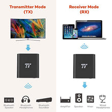 TaoTronics 65ft Bluetooth Transmitter/Receiver Long Range 3.5mm AUX Wireless Audio Adapter for TV Car Stereo System (Hands-Free Calling in RX Mode, aptX Low Latency, Pair 2 Bluetooth 4.2 Headphones)
