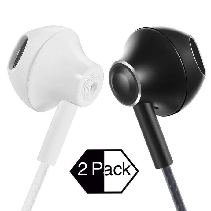 Wired Metal Earphones with Microphone,Classic Heavy Bass Stereo Earbuds in-Ear Headphones with Volume Control Sport Running Headset for iPhone iOS Android 3.5mm Jack (White&Black)