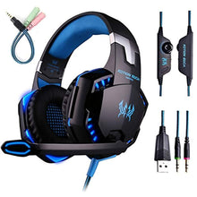 Gaming Headset with Mic for PC,PS4,Xbox One,Over-ear Headphones with Volume Control LED Light Cool Style Stereo,Noise Reduction for Laptops,Smartphone,Computer (Black & Blue)