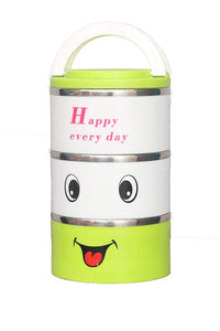 3 Tyre Tiffin Lunch Box Stainless Steel & Thermo Heat Food Container Warmer (Green) - HomeEkart
