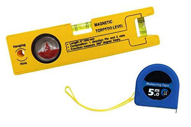 Magnetic Torpedo Level with 1 Direction Pin, 2 Vials and 360 Degree View - HomeEkart