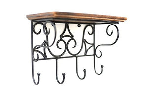 Wooden and Wrought Iron Wall Bracket (Brown, Standard Size)