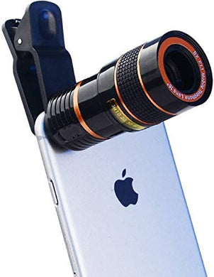 8X Zoom Mobile Phone Telescope Clip Lens for Universal Cell Phone Optical Magnifier Convert Your Android and iOS Device Into A DSLR Like Camera (Black-Red)