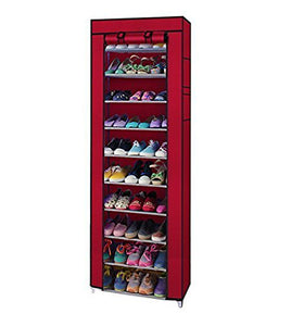 Non-Woven Fabric Collapsible Portable Foldable 10 Layer Easy Installation Shoe Rack/Cabinet, Standard - HomeEkart