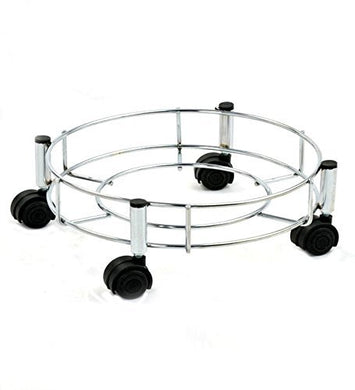 Pack of 5 Stainless Steel Gas Cylinder Trolley With Wheels Stand - HomeEkart