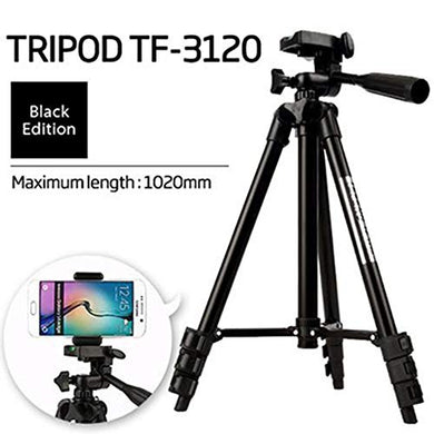 Foldable Camera Tripod 3120 with Mobile Clip Holder Bracket, Fully Flexible Mount Cum Tripod, Standwith 3D Head & Quick Release Plate {Black} - HomeEkart
