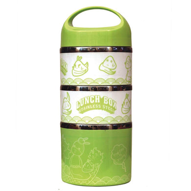 Lunch Box Food Thermal Stainless Steel Storage with 3 Containers 1230 ML (Green) - HomeEkart