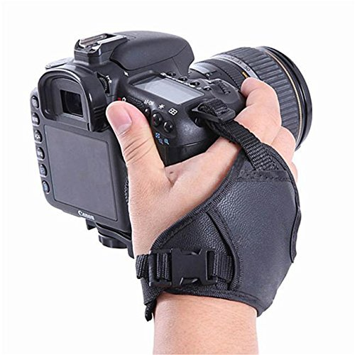 PU Leather Soft Camera Hand Grip Wrist Strap for Canon Nikon Sony SLRDSLR (Black) - HomeEkart