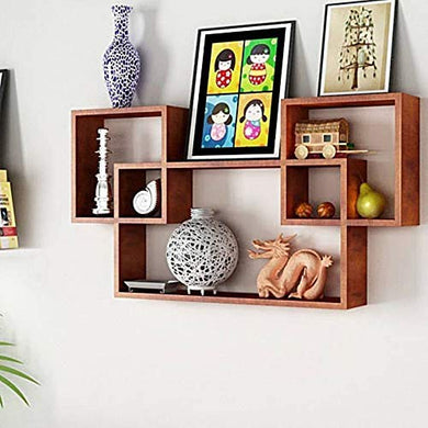 intersecting Wall Shelves/Wall Shelf/MDF Shelves for Home and Living Room(Brown)