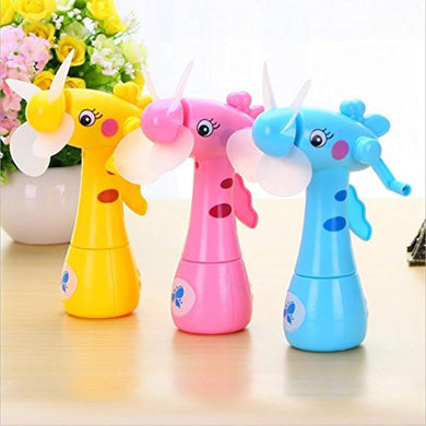 Pack of 10 - Hand Driven Deer Shaped Safe Portable Mini Mist Spray Fan for Kids (Multicolour) - HomeEkart