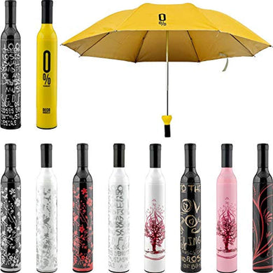 Pack Of 10 - Bottle Shaped Travel Umbrella with Plastic Case, Mini Compact Foldable Design Travel/Folding/Portable Umbrella with Waterproof and Compact Bottle (Multi Color) - HomeEkart