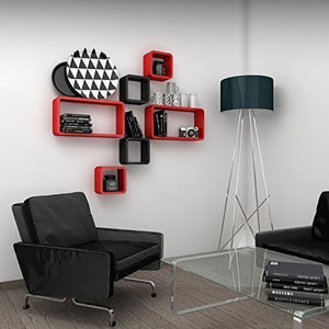 Wall Shelf Set of Six Cube Rectangle Designer Wall Rack Shelves - Red and Black