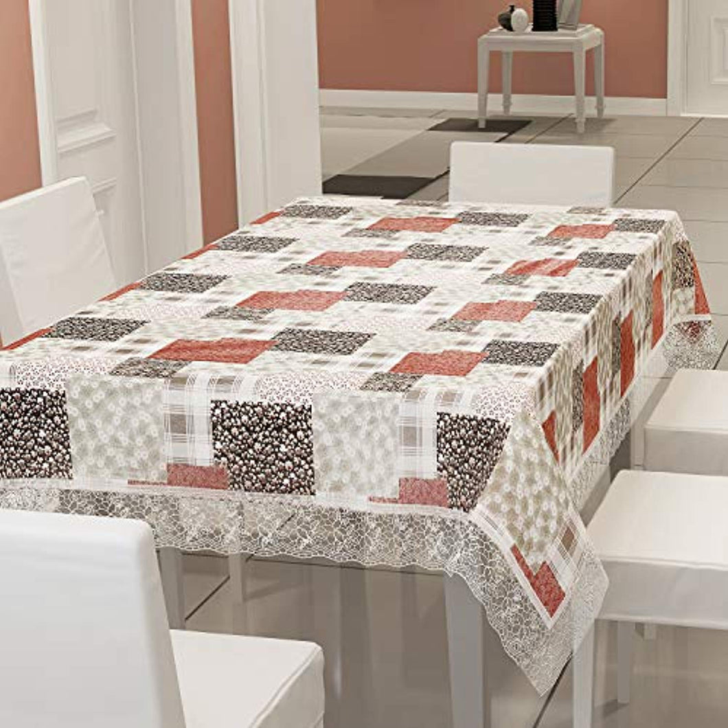 Waterproof 6 Seater Dinning Table Cover with Leather Touch and White Lace (for Size 54x78 inches)