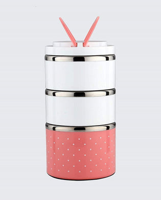 Lunch Box Food Thermal Stainless Steel Storage with 3 Containers 2000ml (Pink) - HomeEkart