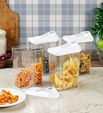 Cereal Dispenser Easy Flow Storage Jar 1100ml 12 Pcs Set, Idle for Kitchen- Storage Box Lid Food Rice Pasta Pulses Container - HomeEkart