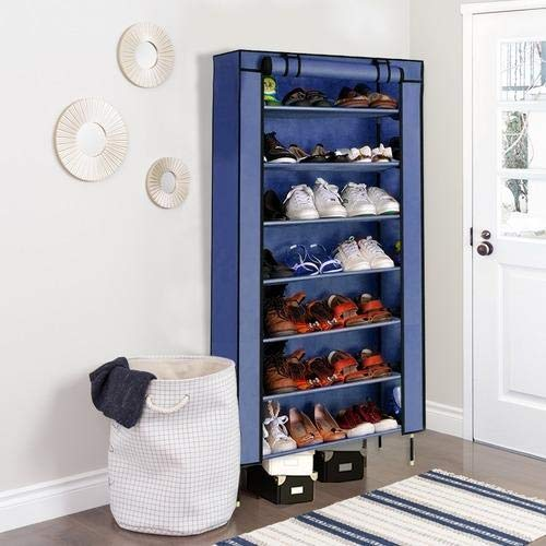 Portable Multi Utility Shoe Rack,Organizer 7 Layer (Navy Blue)