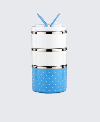 Lunch Box Food Thermal Stainless Steel Storage with 3 Containers 2000 ML (Blue) - HomeEkart