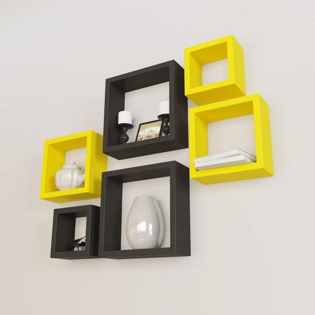 Nesting Wall Shelf (Yellow and Black) - HomeEkart