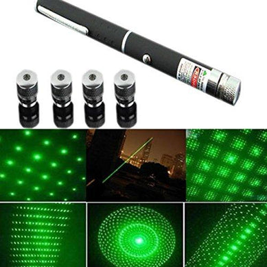 New Green Ray Laser Pointer Pen 5mW 532nm Burning Lazer Visible Beam with Star Head Caps (Battery Included) - HomeEkart